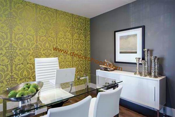کاغذ دیواری اداری رنگ سبز و زیتونی