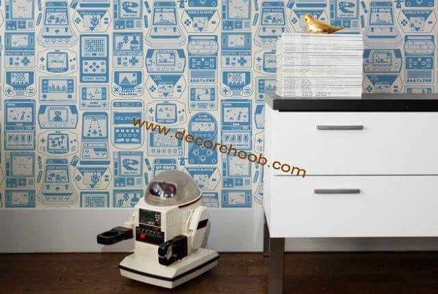 کاغذ دیواری اداری با طرح سفید آبی
