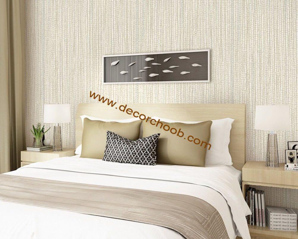 کاغذ دیواری ساده راه راه اتاق خواب