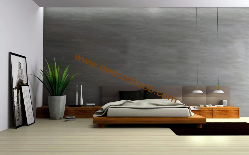 کاغذ دیواری ساده اتاق خواب رنگ دودی