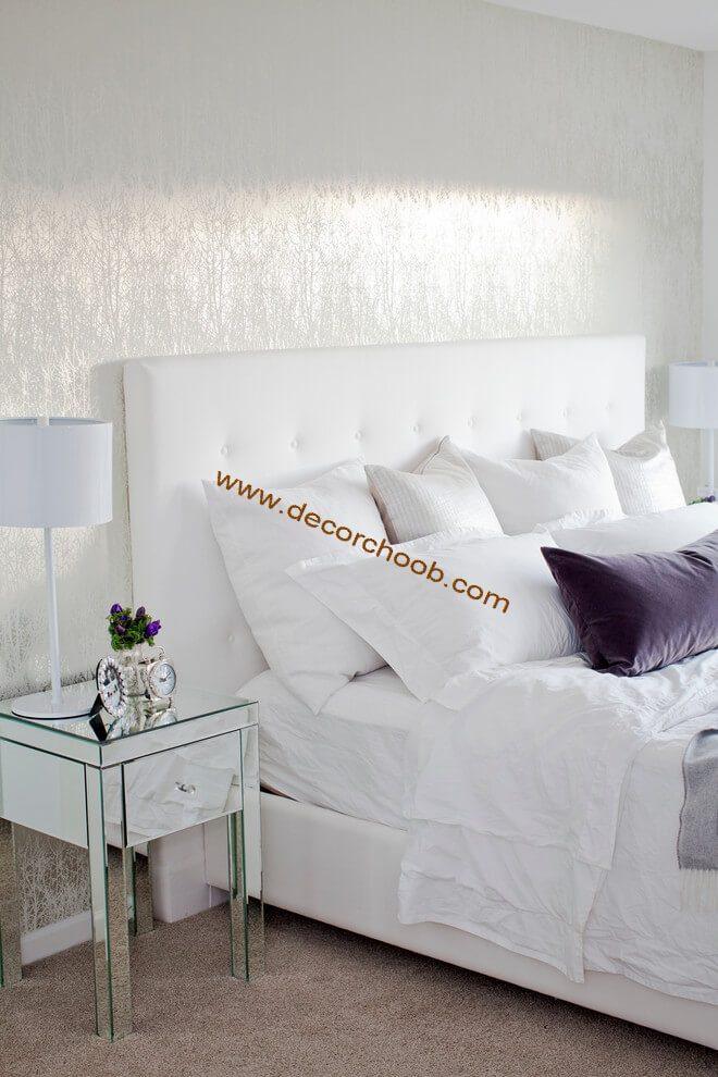 کاغذ دیواری ساده رنگ سفید اتاق خواب