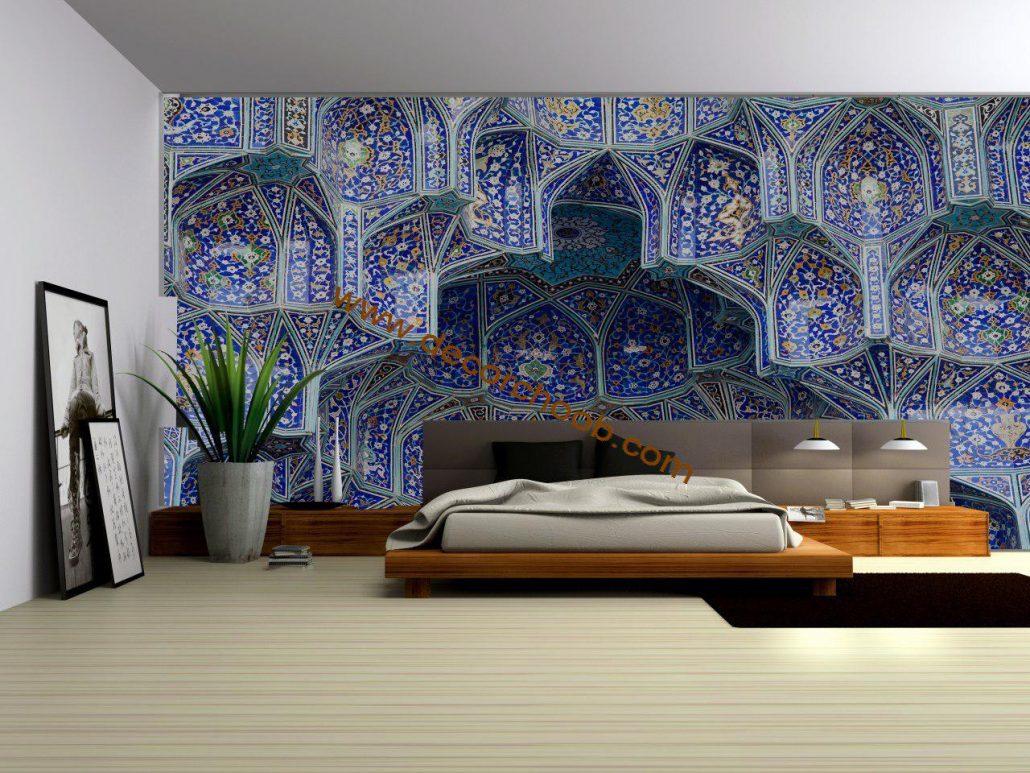 کاغذ دیواری طرج کاشی در دکوراسیون سنتی