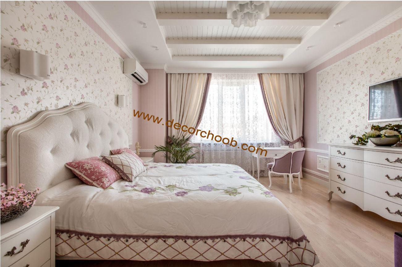 کاغذ دیواری صورتی گلدار اتاق خواب