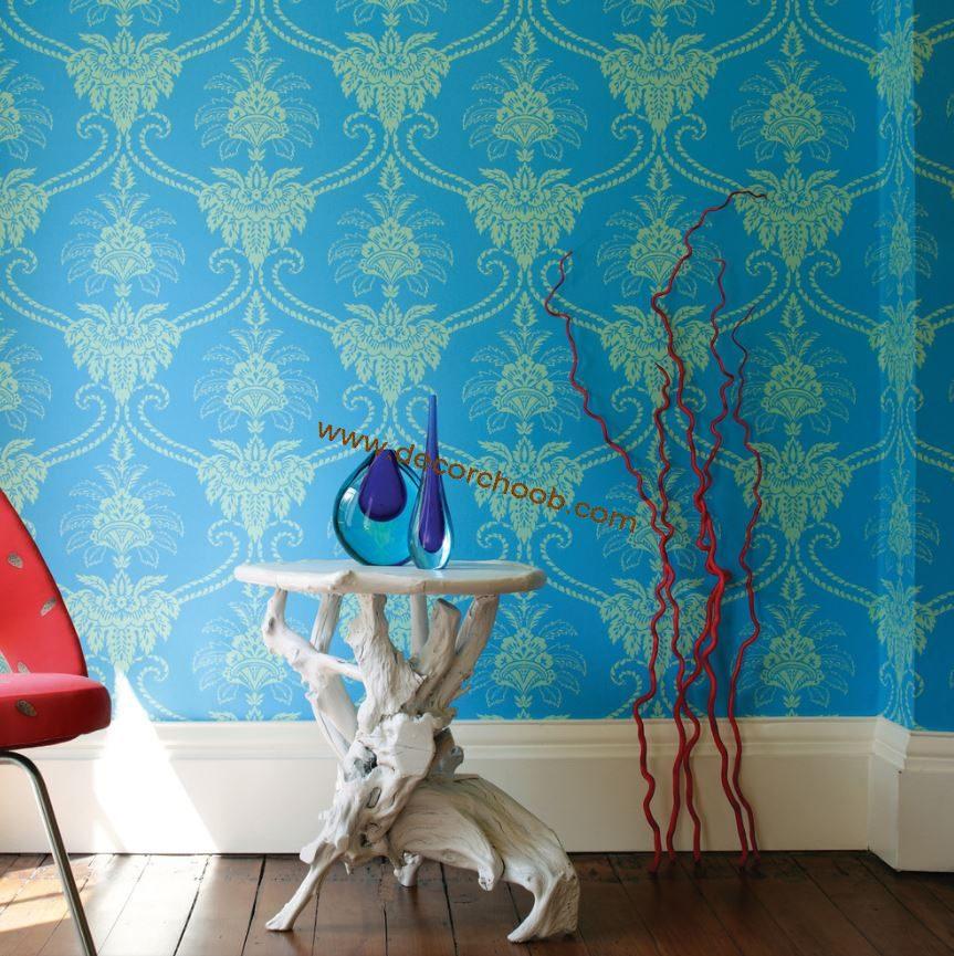 کاغذ دیواری آبی داماسک