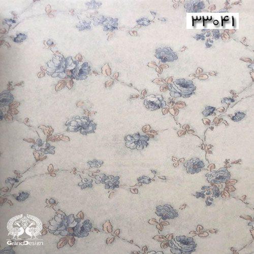 کاغذدیواری طرح سنتی با گل های آبی