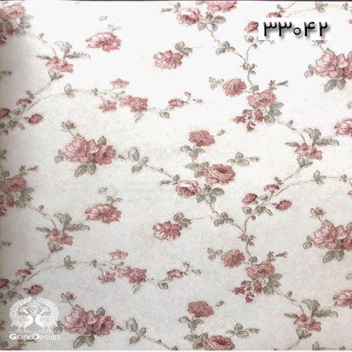 کاغذدیواری طرح سنتی با شکوفه های قرمز