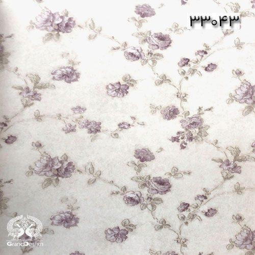 کاغذدیواری طرح سنتی با گل های بنفش