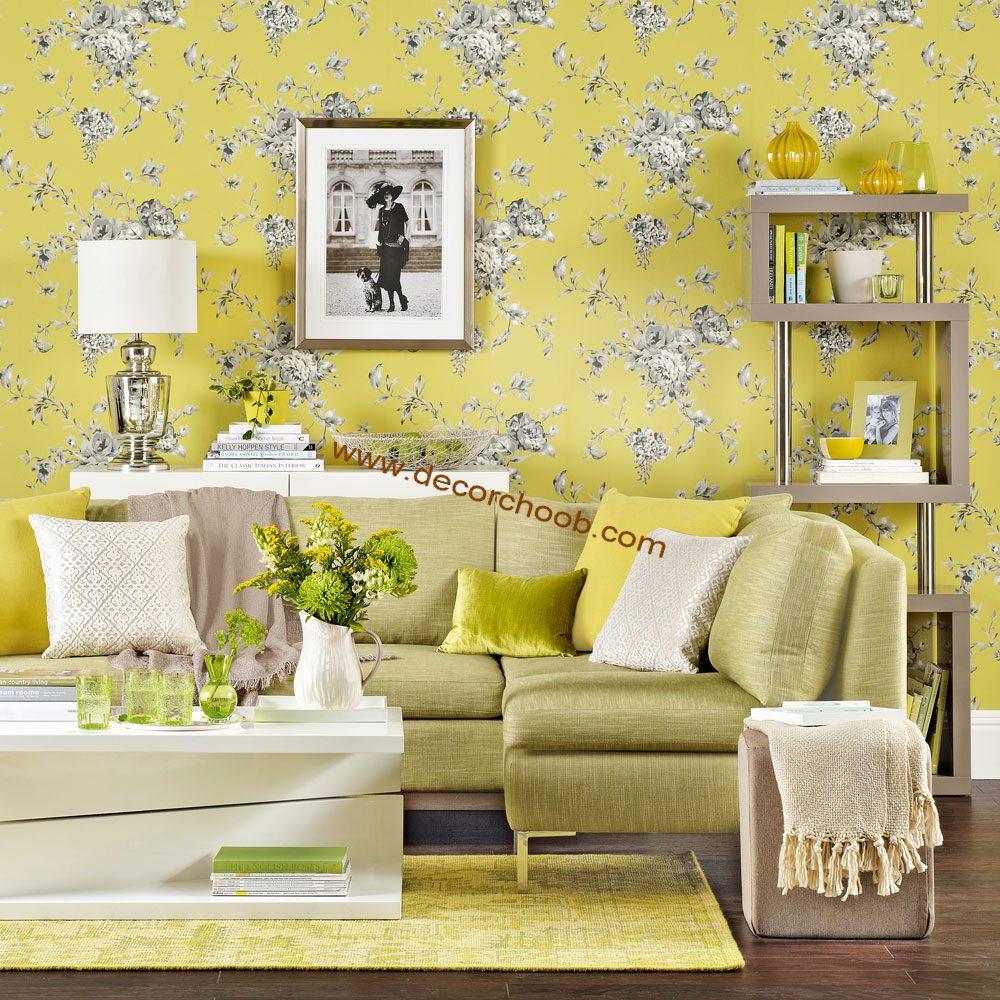 کاغذ دیواری زرد گلدار در دکوراسیون منازل