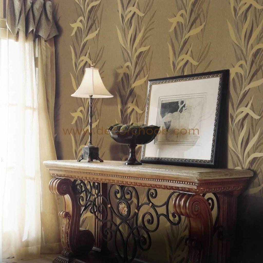 کاغذ دیواری شیک و زیبا با طرح برگ