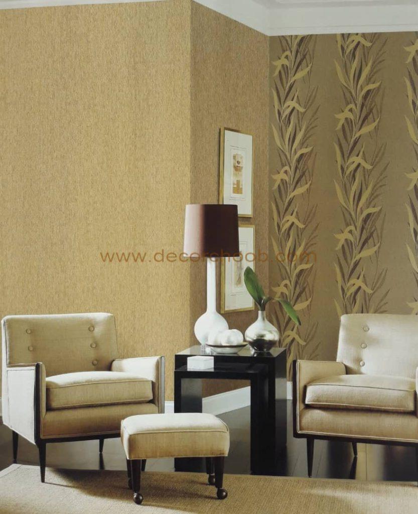 استفاده ترکیبی از کاغذ دیواری طرح دار و ساده