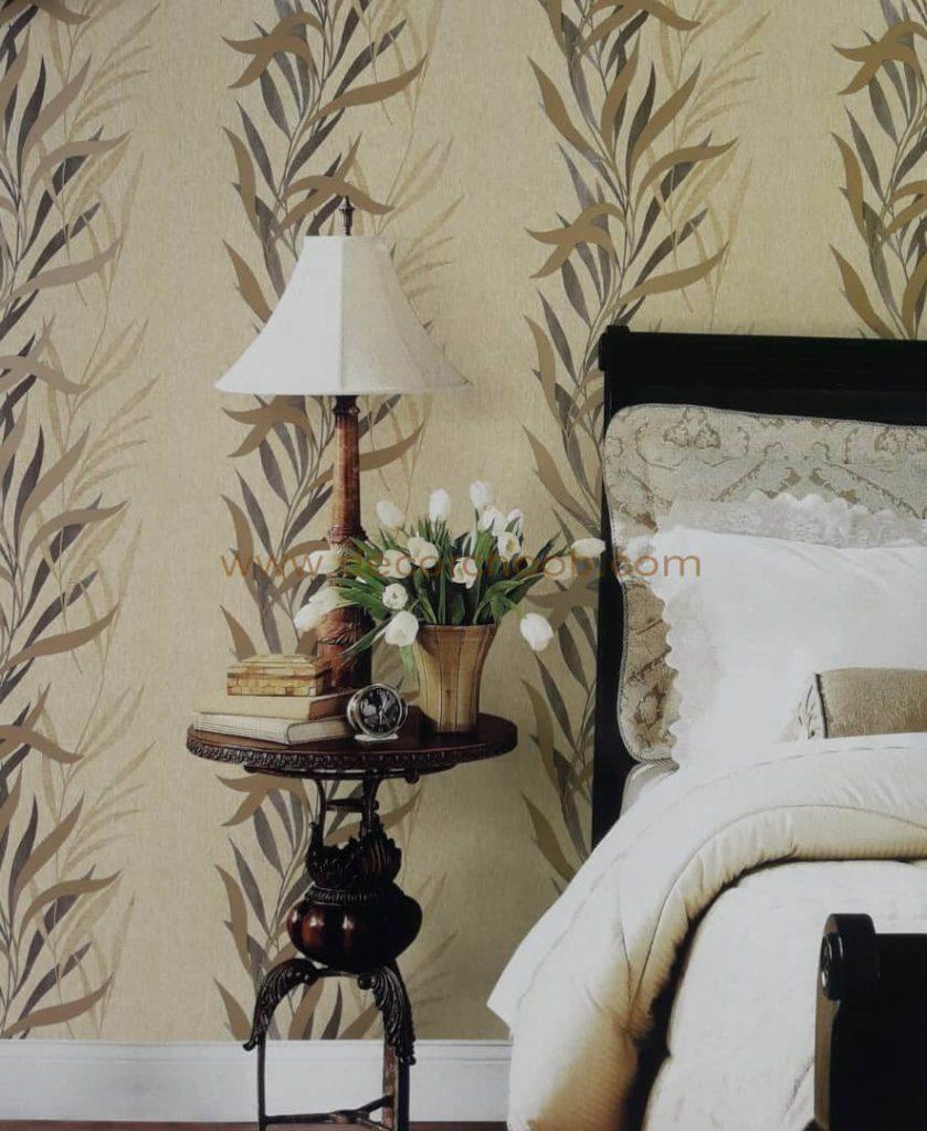 کاغذ دیواری طرح برگ برای پشت تخت خواب
