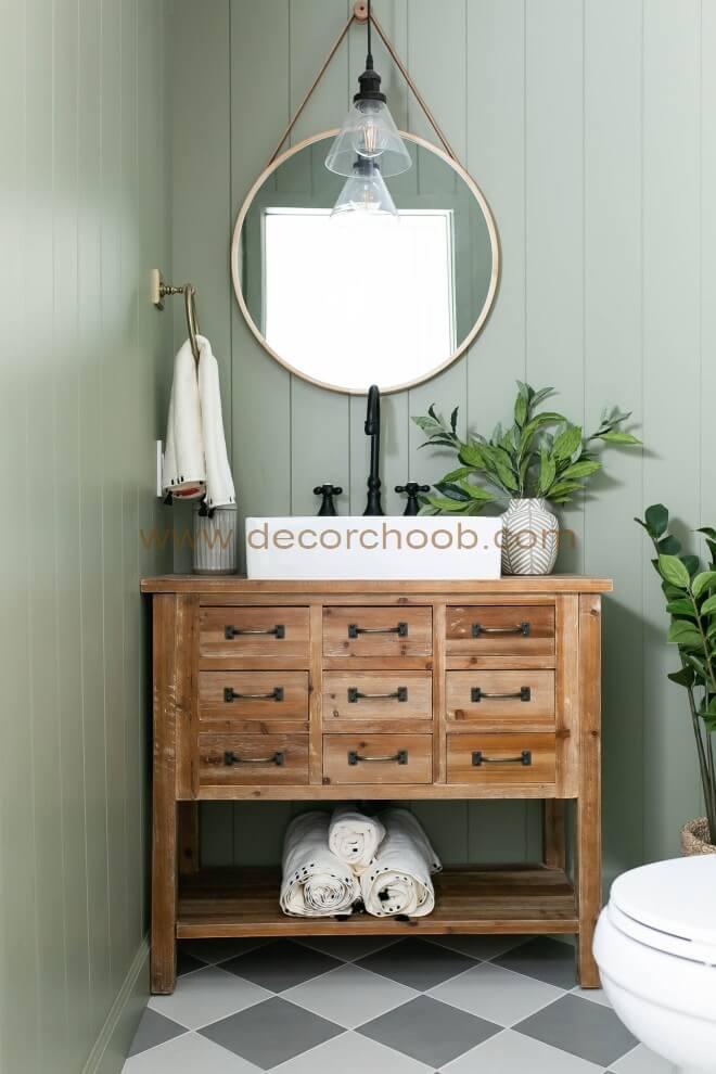 دیوارپوش سبز رنگ برای سرویس بهداشتی
