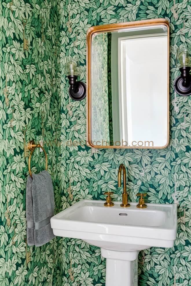 کاغذ دیواری با طرح شلوغ رنگ سبز
