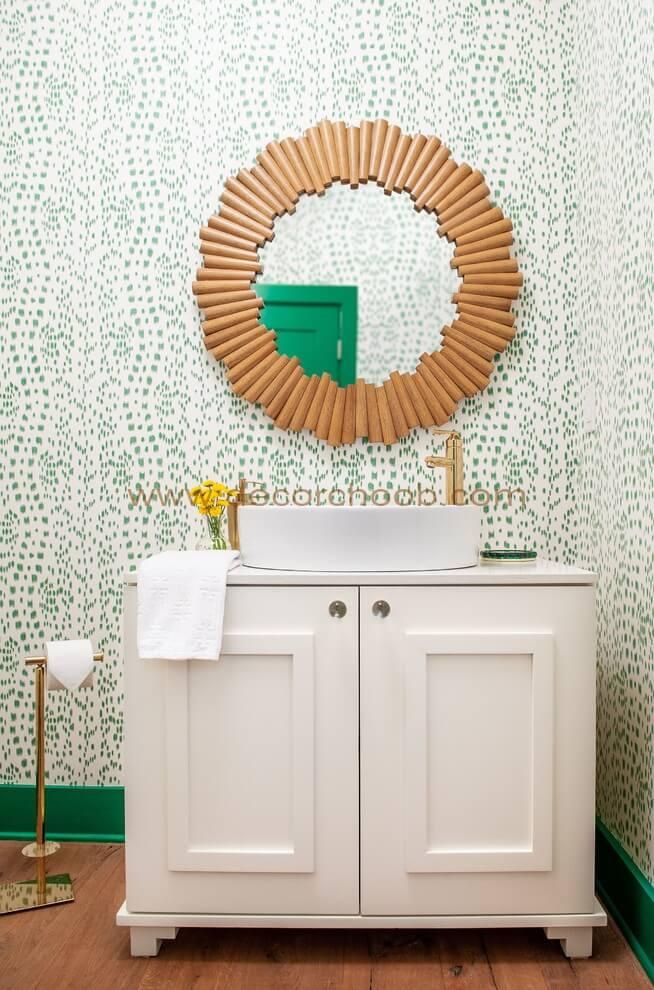 کاغذ دیواری خال خالی با رنگ سبز