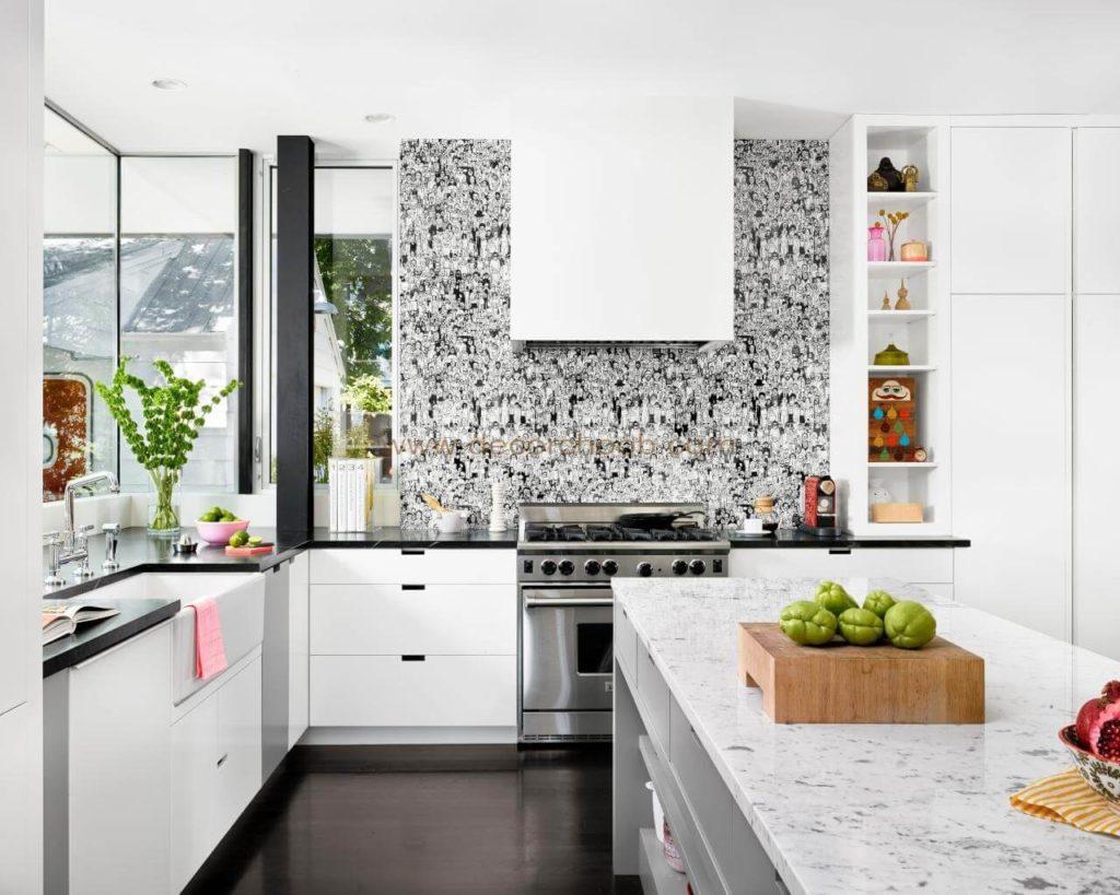 کاغذ دیواری سیاه و سفید برای آشپزخانه