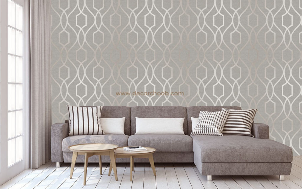 کاغذ دیواری نقره ای با طرح هندسی