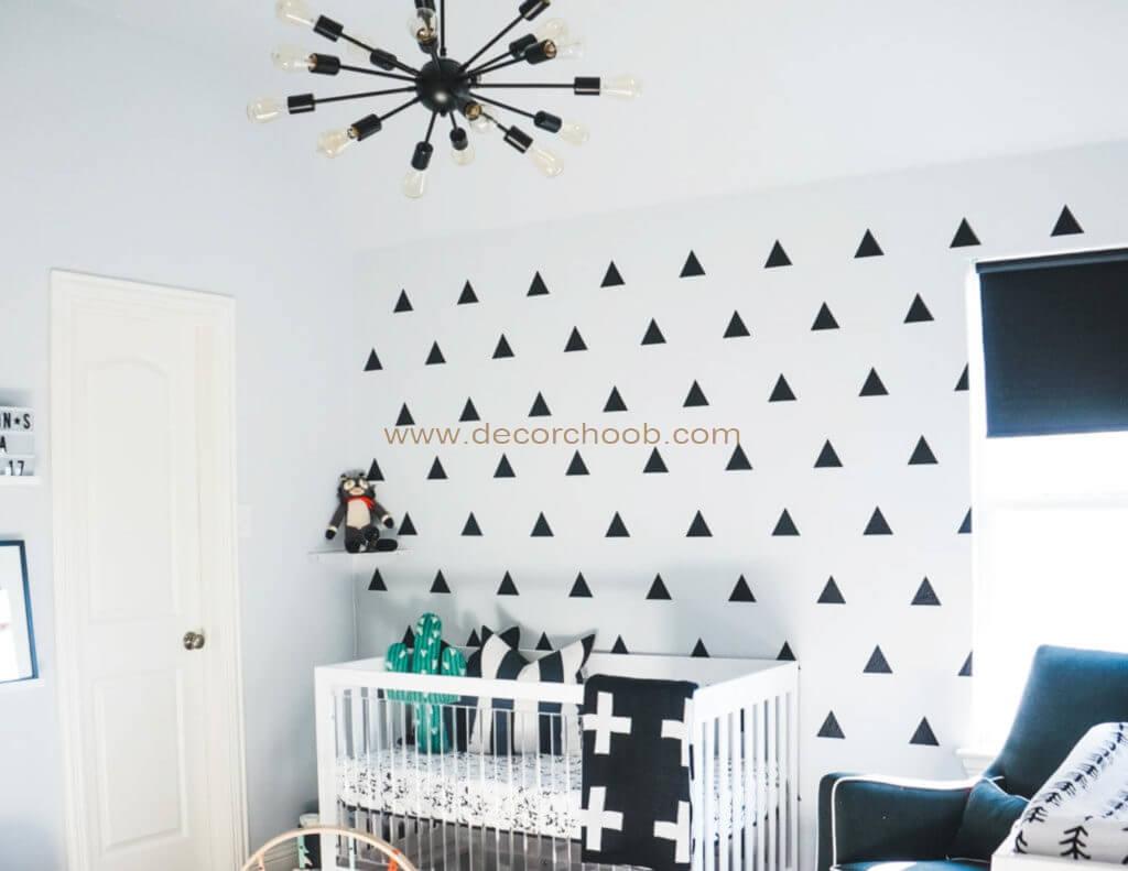 کاغذ دیواری سیاه و سفید برای اتاق کودک