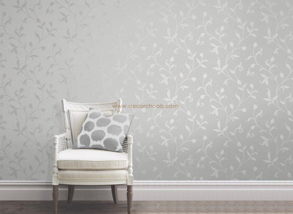 کاغذ دیواری نقره ای با طرح گل