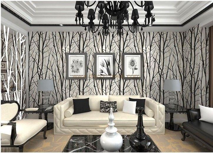کاغذ دیواری سیاه و سفید طرح درخت