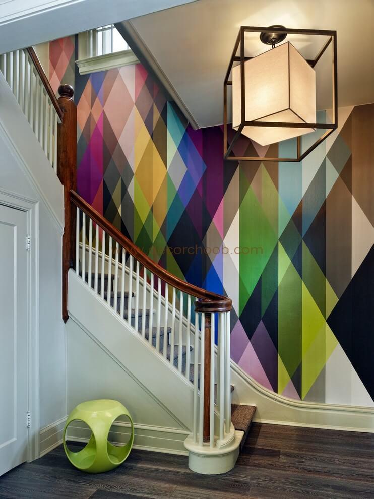 کاغذ دیواری با طرح هندسی