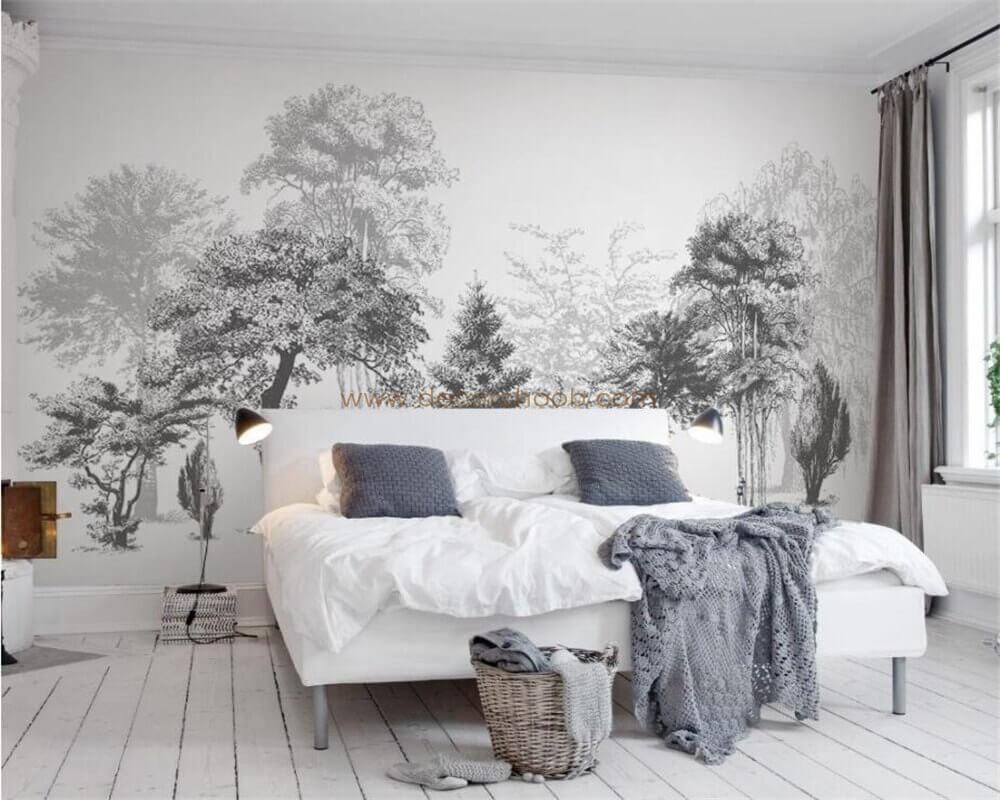کاغذ دیواری طرح منظره سیاه و سفید برای پشت تخت خواب