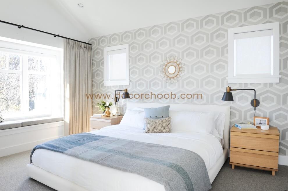 کاغذ دیواری پشت تختخواب