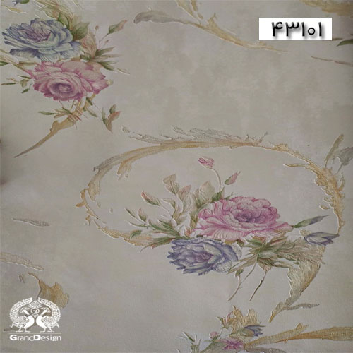 کاغذدیواری سنتی گلدار بنفش-دکوذچوب