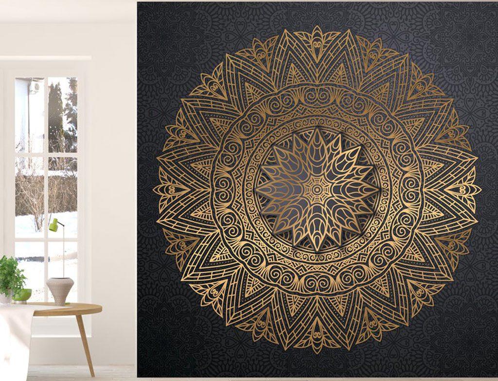 طرح های کاغذ دیواری طلایی براق