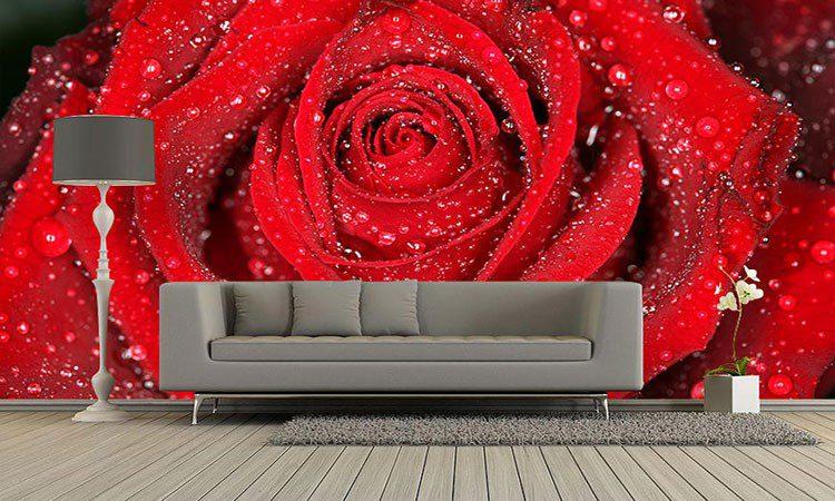 کاغذ دیواری گلدار برای اتاق نشیمن